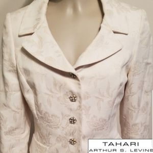TAHARI DAMASK PEARL BUTTON FITTED BLAZER J…